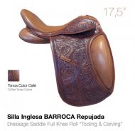 Baroque tooled leather dressage saddle